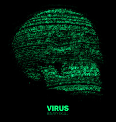 skull constructed with green binary code vector image