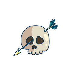 Skull with arrow in the head and eye vector