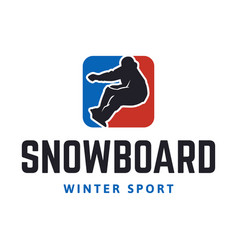 Snowboard winter sport logo template with vector