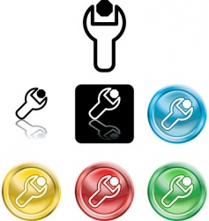Spanner and nut icons vector