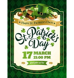 St patricks day vintage holiday frame for text vector