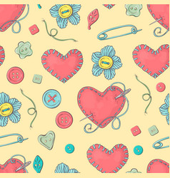 Stitched needle bed in the shape of a heart and vector