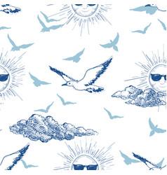 summer sky seamless pattern sun wearing vector image