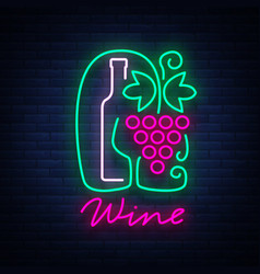 Template logo wine bar in a trendy neon style vector