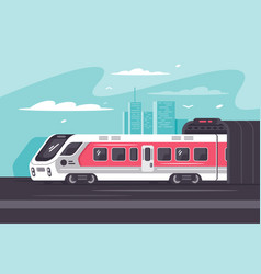 train rushing out of city in long way vector image