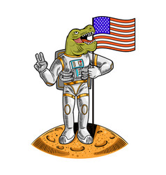 Tyrannosaurus in space suit hold american flag vector