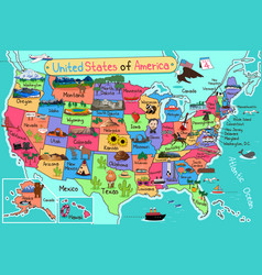Usa map in cartoon style vector