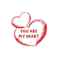 valentines day greeting card or poster with sketch vector image