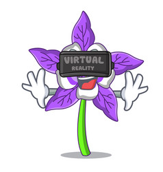 Virtual reality columbine flower mascot cartoon vector