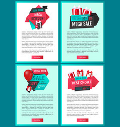 web pages with gift boxes and shopping sale labels vector image