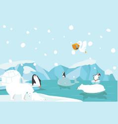 winter north pole arctic landscape vector image
