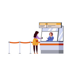 woman travel registration airport terminal air vector image