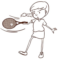 A simple sketch of a female tennis player vector