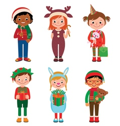 Children in costumes Christmas vector image vector image