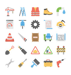 flat icon set of under construction vector image vector image