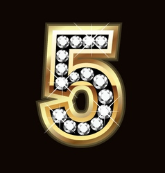 Number five bling gold and diamonds vector