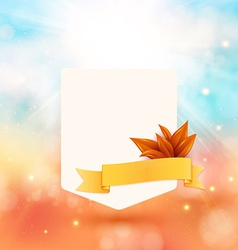 Paper note with ribbon and leaves on bright autumn vector image