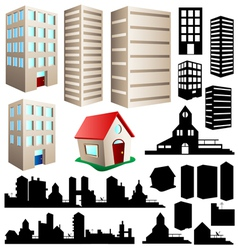 Building and cityscape set vector image vector image