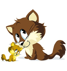cat and kitty huddle vector image vector image