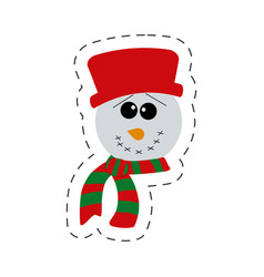 cute snowman christmas cut line vector image vector image