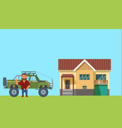flat design man with home and truck on background vector image vector image