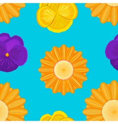 flowers seamless blue pattern vector image