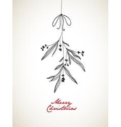 Handwritten Christmas with hanging mistletoe vector image