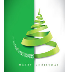 merry christmas banner with green ribbon vector image vector image