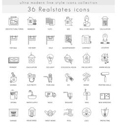 Real estates house ultra modern outline vector image vector image