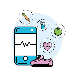 Smartphone with beat inside and healthy icons vector