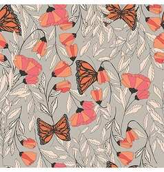 traditional seamless pattern with Monarchs vector image