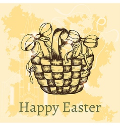 easter retro hand drawn design card vector image vector image