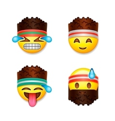 Emoji smiley faces fitness concept vector image