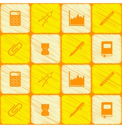Seamless background with office icons vector image