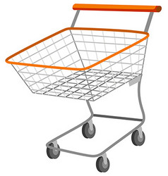 Shopping cart with metal basket vector image