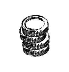 Sketch stack coins money crrency icon vector