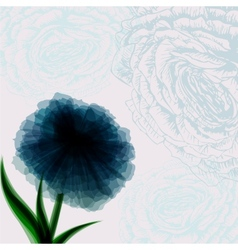 Vintage background with dark blue flower vector image