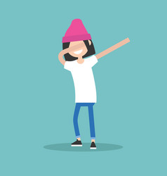 young female character making dab dance flat vector image vector image