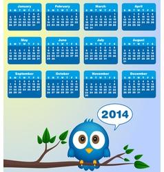 2014 calendar with funny blue bird vector image vector image