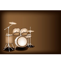 A Beautiful Drum Kit on Dark Brown Background vector image vector image