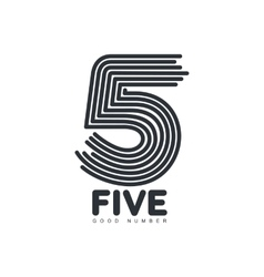 Black and white number five logo formed by vector image vector image