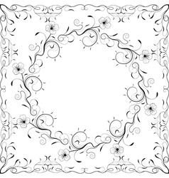 Floral frame black and white vector image