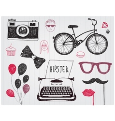 hand-drawn set of hipster style elements vector image