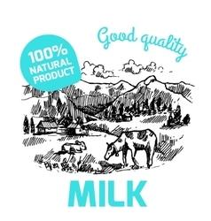 sketch milk product vector image vector image