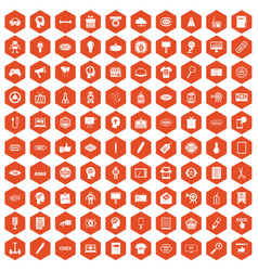 100 creative marketing icons hexagon orange vector