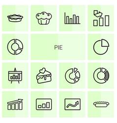 14 pie icons vector image