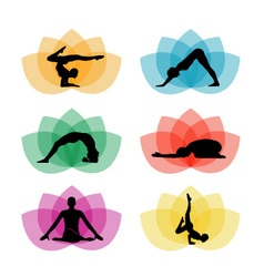 A set of yoga and meditation symbols vector image