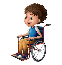 A young boy riding on a wheelchair vector image