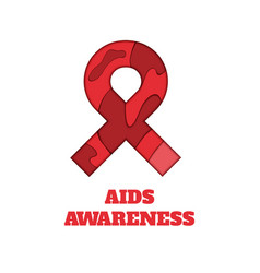 Aids awareness papercut ribbon vector