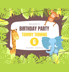 birthday party banner template with cute african vector image
